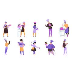 cooks cartoon set vector image