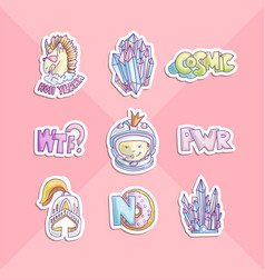 Cute cartoon girl power stickers astronaut girl vector