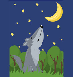 cute wolf with woodland animal vector image