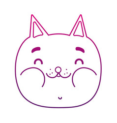 degraded outline funny cat head nice animal vector image