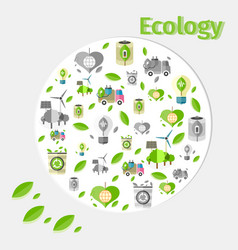 Ecology poster with small green and grey icons vector
