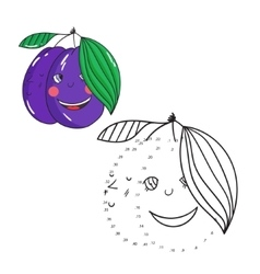 Educational game connect dots draw plum vector