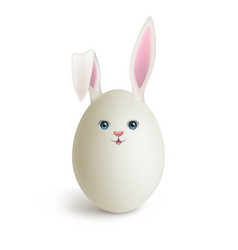 Egg painted under funny bunny realistic vector