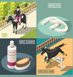 Equestrian sport 2x2 design concept vector
