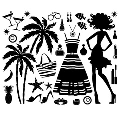 Fashionable set tropical rest with silhouette o vector
