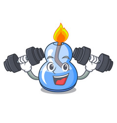 Fitness alcohol burner character cartoon vector