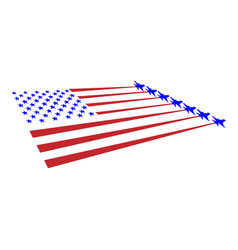 flag usa and military planes take off from the vector image