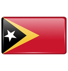 Flags East Timor in the form of a magnet on vector