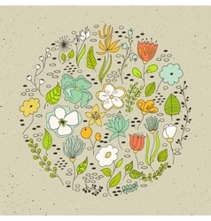 Floral circle with doodles flowers vector image