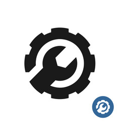 Gear and wrench icon service support logo vector