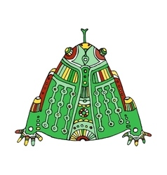 Green colored hand drawn aztec frog vector