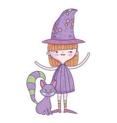 Happy halloween celebration girl witch costume vector
