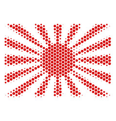 Hexagon halftone japanese rising sun icon vector