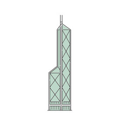 hong kong famous skyscraper icon cartoon sketch vector image