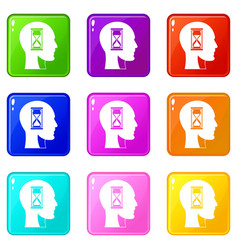 Hourglass in head icons 9 set vector