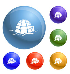 igloo icons set vector image