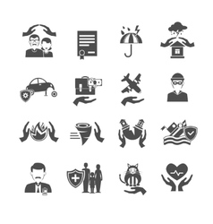 Insurance Icons Black Set vector image