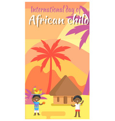 International african child day holiday placard vector