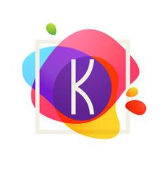 K letter logo in square frame at watercolor vector