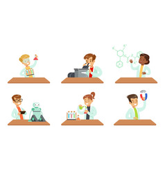 kid scientists set boys and girls doing vector image