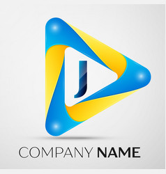 Letter j symbol in the colorful triangle vector
