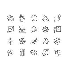 line creativity icons vector image