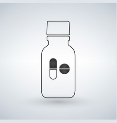 linear pill bottle icon with pills modern pill vector image
