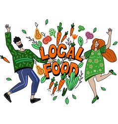 Local food support farmers creative concept vector