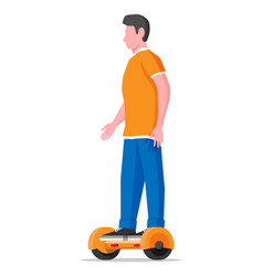 man riding on hoverboard isolated on white vector image