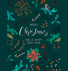 merry christmas and happy new year card poster vector image