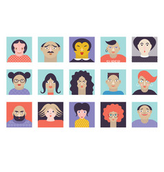 people avatar face icons vector image