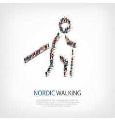 people sports nordic walking vector image