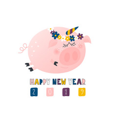 postcard with cute funny pig unicorn - symbol vector image
