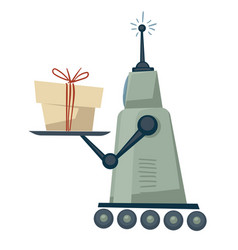 Robot delivering parcel or present automated vector
