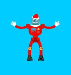 robot santa claus mechanical cyborg grandfather vector image