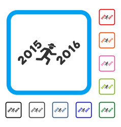 run to 2016 year framed icon vector image