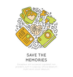 Save the memories travel icons concept icon vector