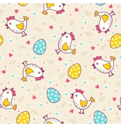 Seamless easter pattern with chicken and eggs vector image