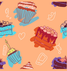 seamless pattern sweets doodle pastry bright vector image