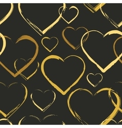 Seamless pattern with golden hearts vector image