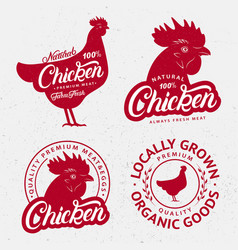 set chicken logos labels prints posters vector image