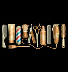 set for hair salon and barbershop vector image