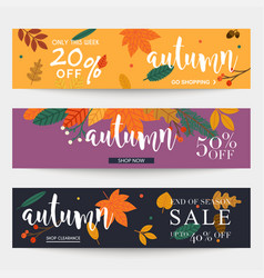 Set of autumn sale banners design discounts and vector