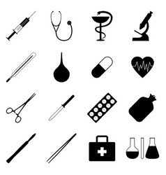 Set of black medical icons vector