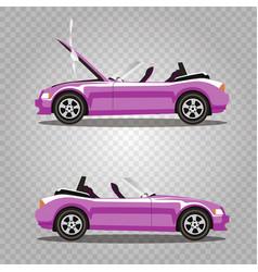 set of broken cartoon rose cabriolet sport car vector image