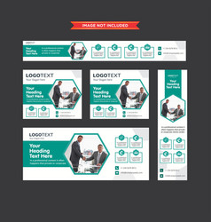 Set of geometric teal and white web banners vector