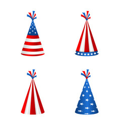 Set party hats with flag of the united states of vector
