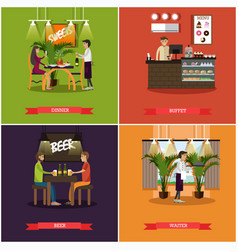 Set pub concept posters in flat style vector
