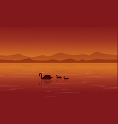 Silhouette of swan on lake at sunset vector