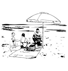 sketch a family on beach vector image